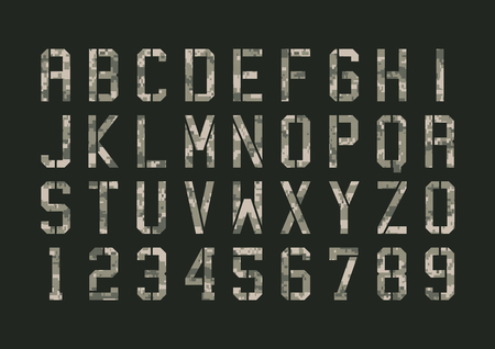 numbers: Military pixels camo font
