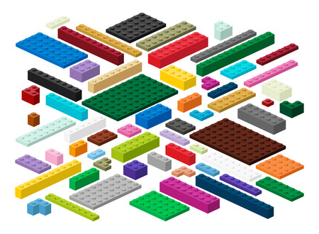 Building blocks and plates for children in vector (easily modifiable for graphic designers)
