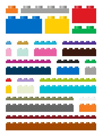 modifiable: Toy building pieces in vector (easily modifiable for graphic designers) Illustration