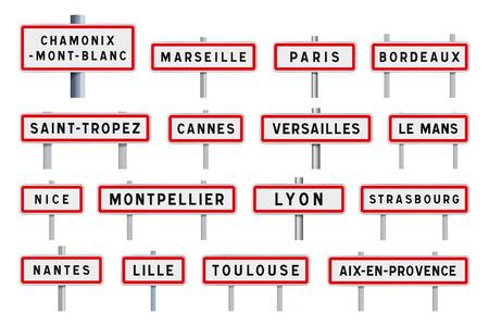 French cities road signs entrance Ilustração