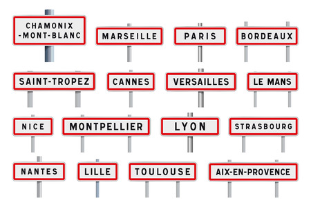 French cities road signs entrance Illustration