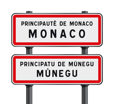 roadsign: Vector illustration of Monaco road signs entrance with the Monegasque traduction Munegu