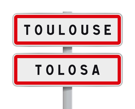 toulouse: Vector illustration of Toulouse road signs entrance with the Occitan traduction Tolosa Illustration