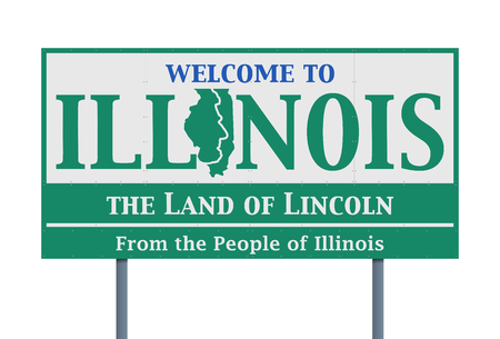Welcome road sign of the state of Illinois