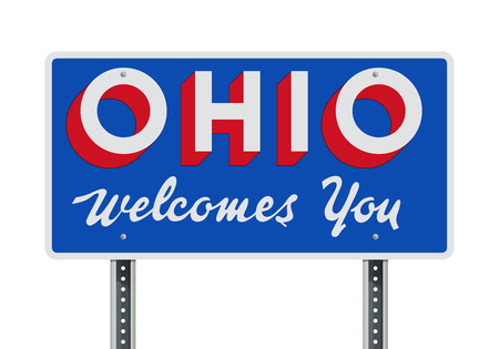 Welcome road sign of the state of Ohio Ilustração