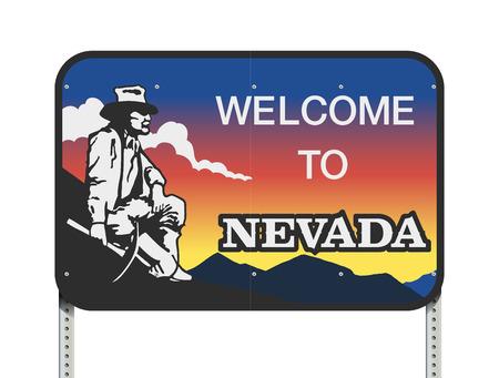 Vector illustratie van het Nevada welkom verkeersbord Stock Illustratie