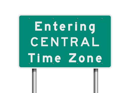 Central Time Zone road sign Ilustração