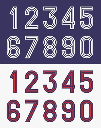 Vintage football jersey numbers illustration.
