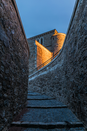Steps to the Saint-Nicolas priory at the nightfall in Les Sables dOlonne, French west coast Stock Photo
