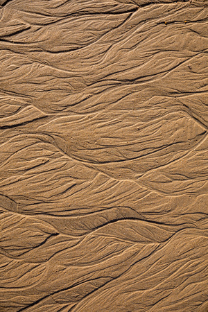 Sand texture with abstract forms of water at low tide Stock Photo