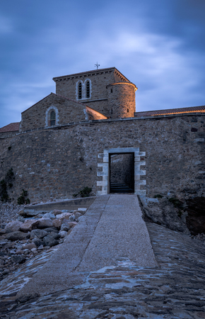 Climb to the Saint-Nicolas priory at the nightfall in Les Sables dOlonne, French west coast Stock Photo