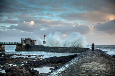 Big wave hit the jetty of la Chaume (Les Sables dOlonne, France)