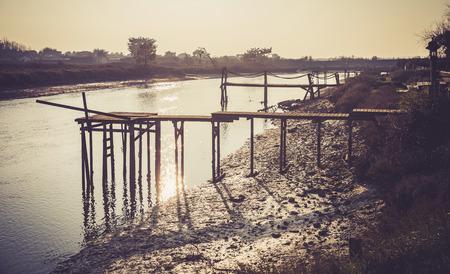 Wooden pontoons on the Auzance river (Brem-sur-mer, France)