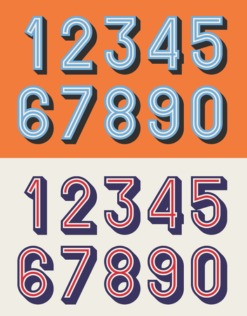 Vector illustration of vintage relief numbers typeface. Illustration