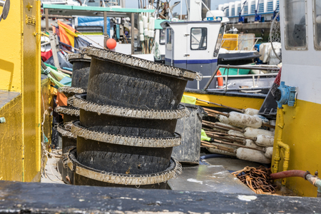 Hooks basins on fishing boat Editorial