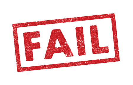 Vector illustration of the word Fail in red ink stamp