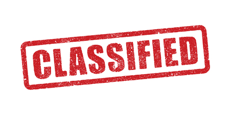Vector illustration of the word Classified in red ink stamp