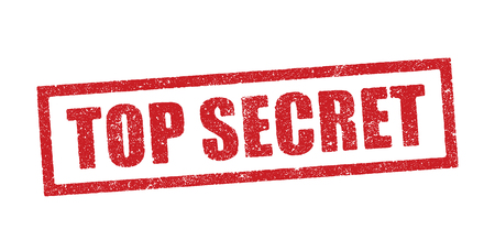 Vector illustration of the word Top Secret in red ink stamp