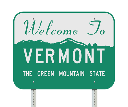 Welcome to Vermont road sign Stock Illustratie