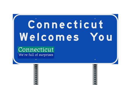 Connecticut vous souhaite la bienvenue panneau routier