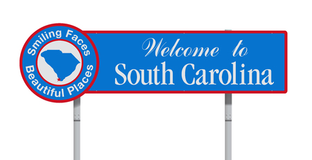 Welcome to South Carolina road sign Çizim