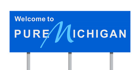 Welcome to Michigan road sign Illustration