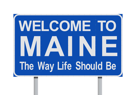 Welcome to Maine road sign Illustration