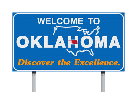 Welcome to Oklahoma road sign Illustration