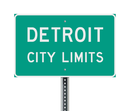 Detroit City Limits road sign Illustration