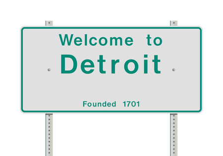 Welcome to Detroit entrance road sign