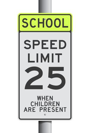 School Speed Limit road sign Vetores