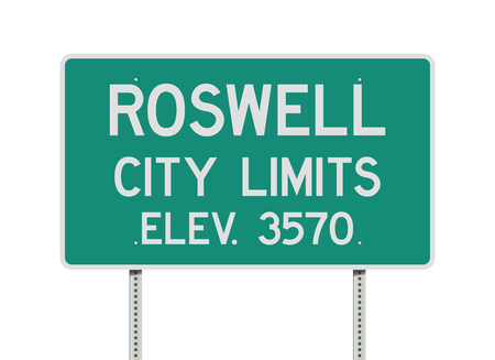 Roswell City Limits road sign Stock Illustratie