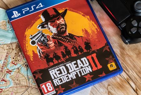 NANTES, FRANCE - OCTOBER 26, 2018: Red Dead Redemption 2 game release for PS4 on October 26,2018. in Nantes, France.