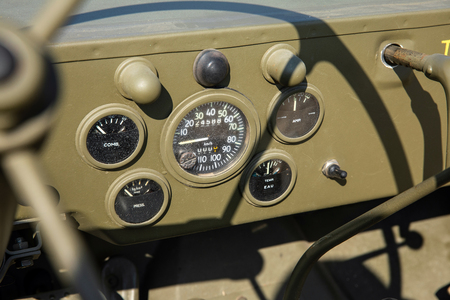 Dashboard of military green khaki vehicle of the WWII Stock Photo