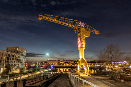 Titan yellow crane on Island of Nantes (Loire-Atlantique, France)