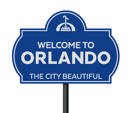 Welcome to Orlando road sign Stock Illustratie