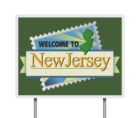 Welcome to New Jersey road sign Stock Illustratie