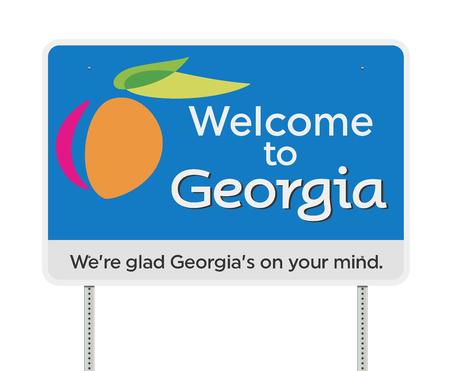 Welkom bij Georgië verkeersbord Vector Illustratie