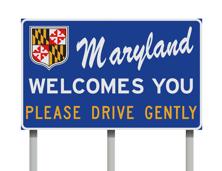 Maryland Welcomes You  road sign Ilustração