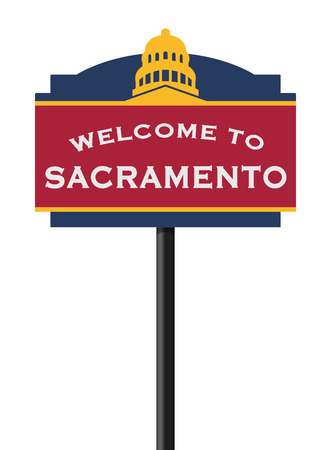 Welcome to Sacramento road sign Illustration