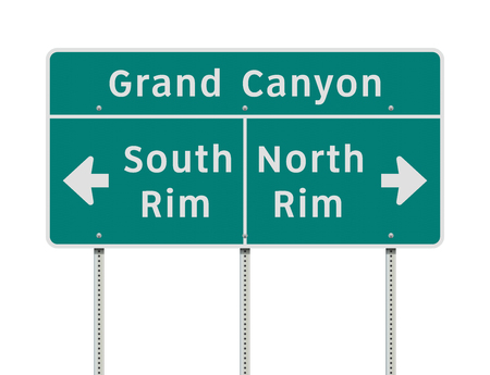 Grand Canyon rims direction road sign