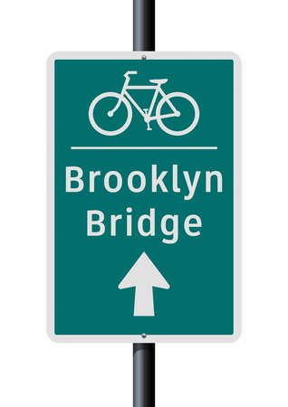 Brooklyn Bridge bicycle direction road sign