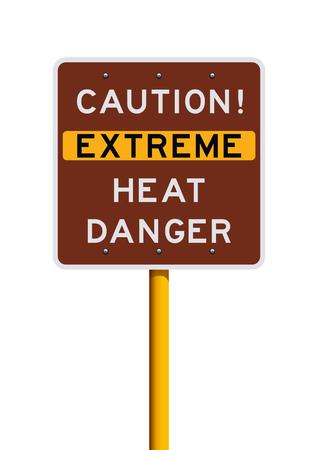 Achtung Straßenschild für extreme Hitzegefahr
