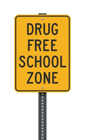 Drug Free School Zone sign 向量圖像