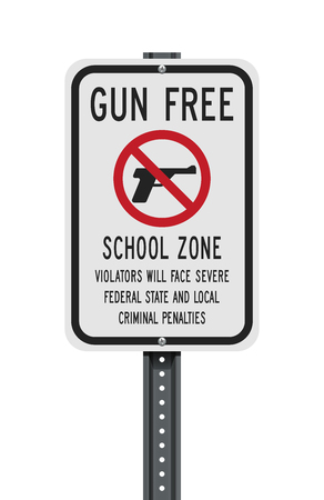 Gun Free School Zone sign Иллюстрация