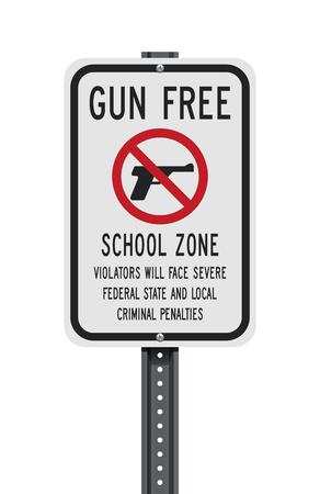 Gun Free School Zone sign Illustration