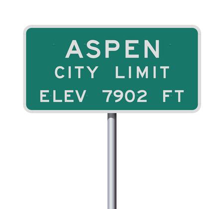 Panneau de signalisation de limite de la ville d'Aspen Vecteurs