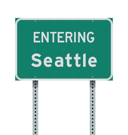 Entering Seattle road sign Vector Illustration