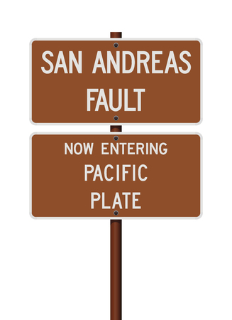 San Andreas Fault and Pacific Plate road signs