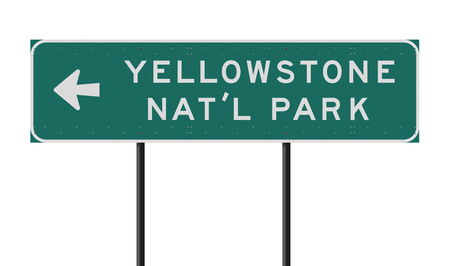 Yellowstone National Park direction road sign Иллюстрация